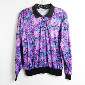 Vintage 80s 90s floral print pullover blouse peony